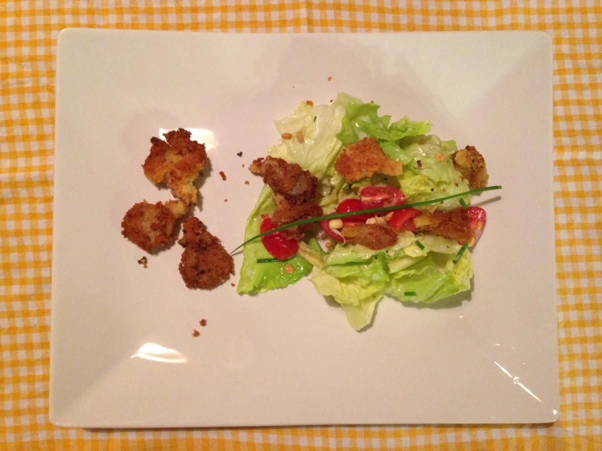 Salat aufpeppen? Panierte Austernpilze