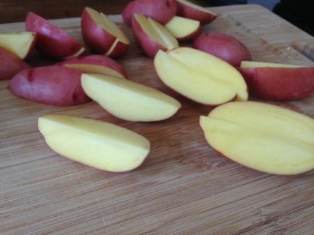 Heute verwende ich rote Kartoffeln.