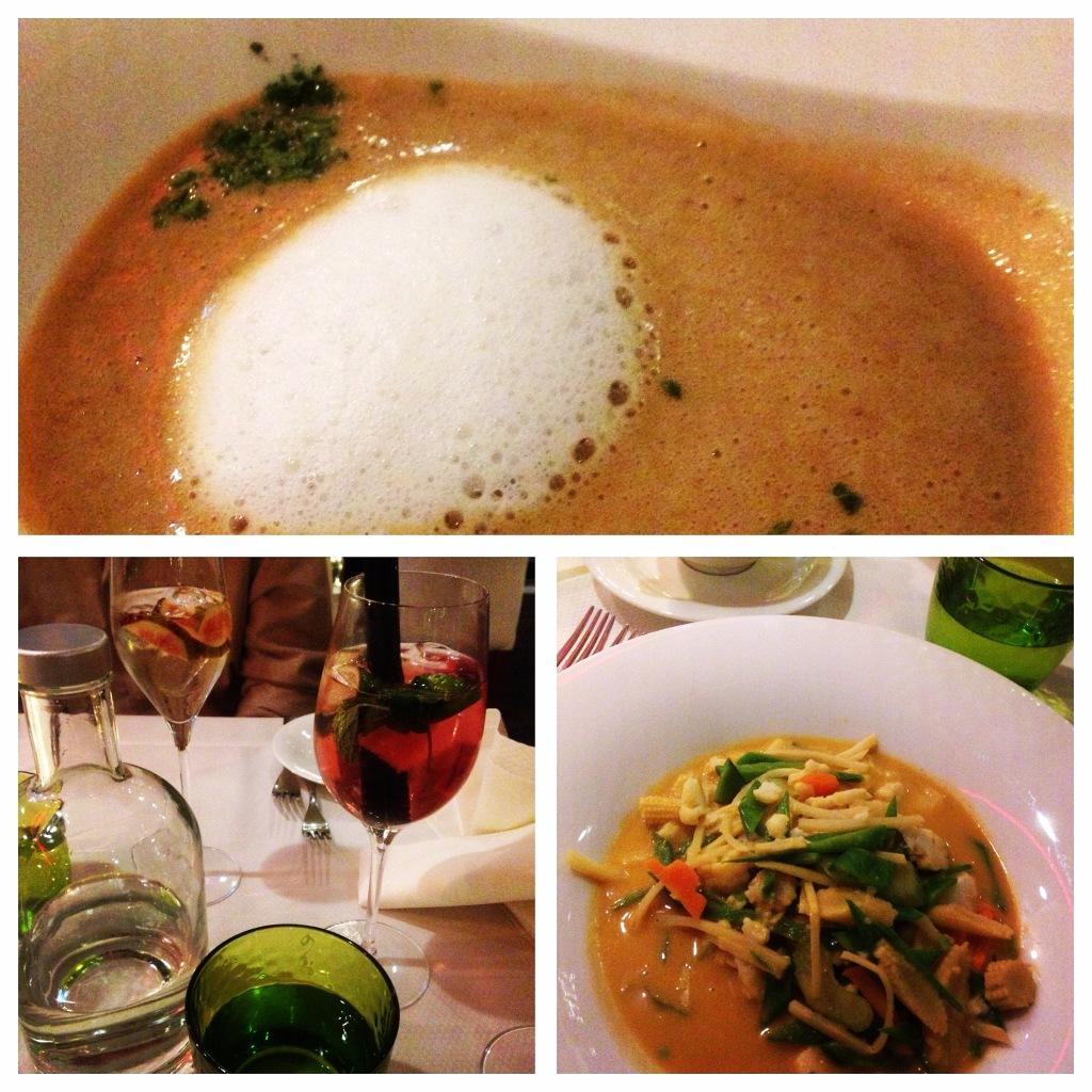 """Maronensuppe mit Kokosschaum und Thai-Curry im Hotel Restaurant """"Meinl"""" in Reutti"""