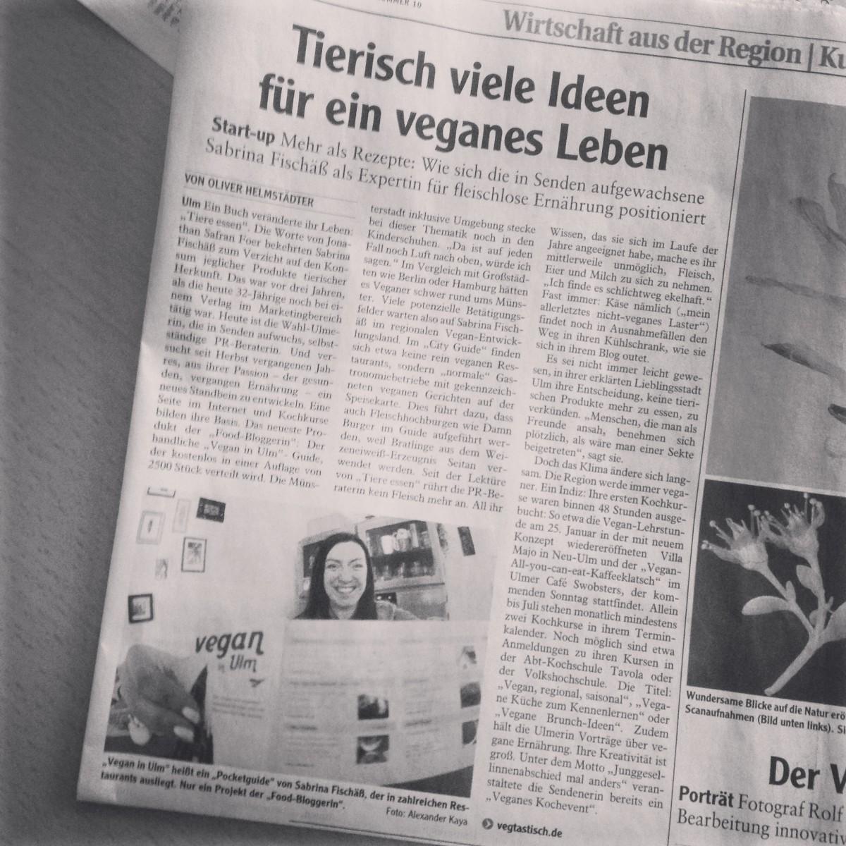"""""""Tierisch viele Ideen für ein veganes Leben"""": Ich in der Neu-Ulmer Zeitung"""