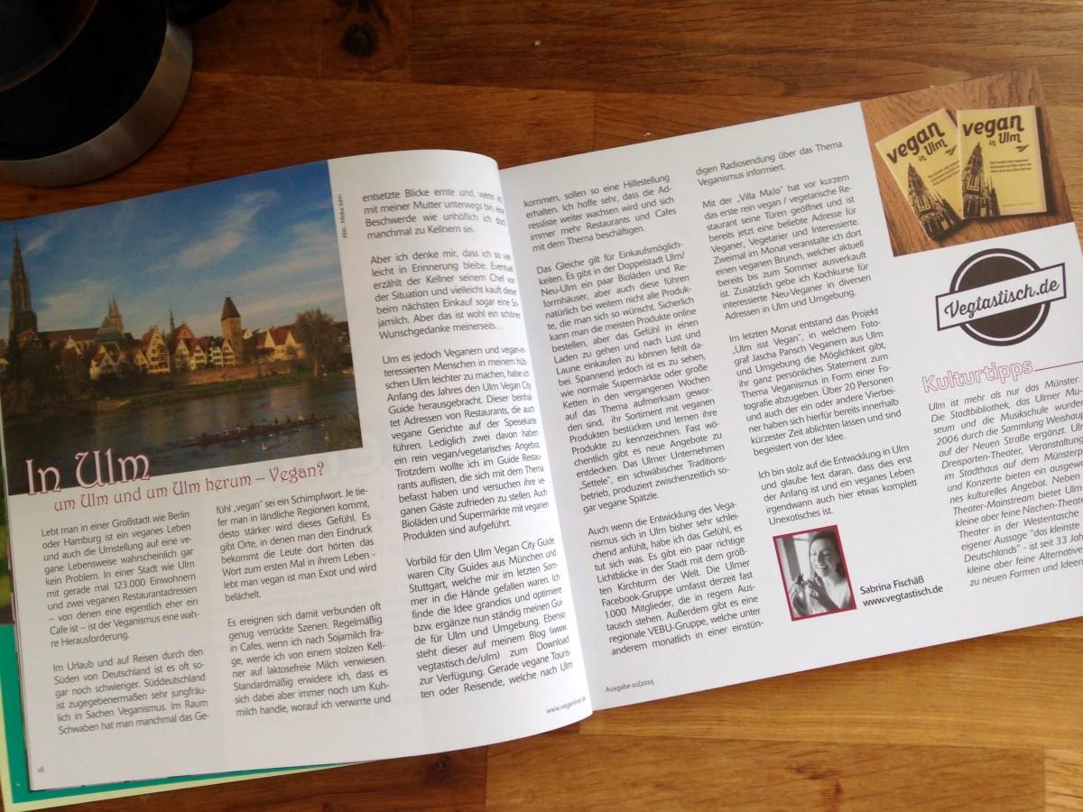 Ulm im VeganLive Magazin Ausgabe 02/15