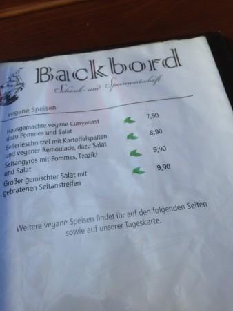 """Vegane Speisekarte im """"Backbord"""""""