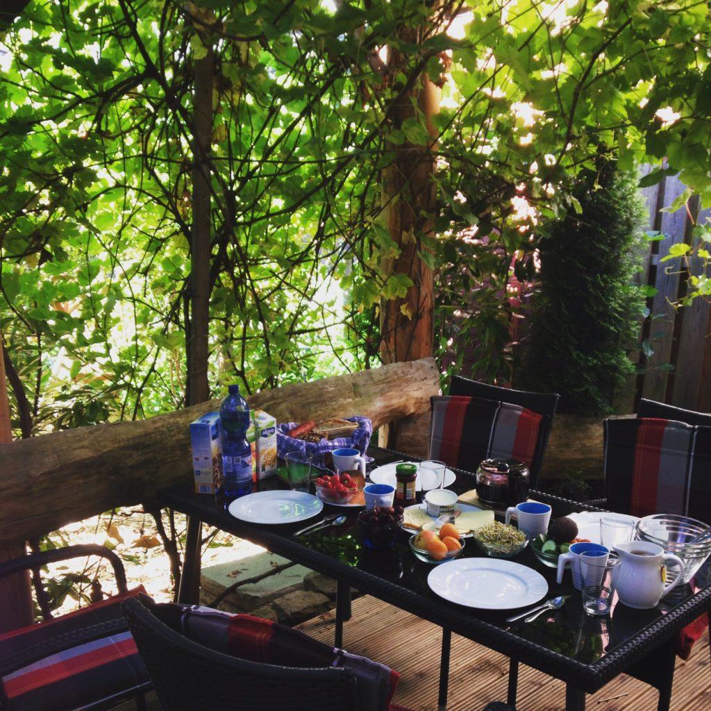 Der eingewachsene Balkon mit Weinreben