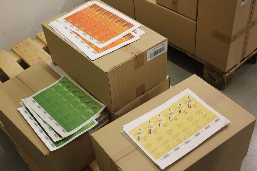 Etiketten für die Verpackungen der vielen verschiedenen SONNENTOR-Produkte.