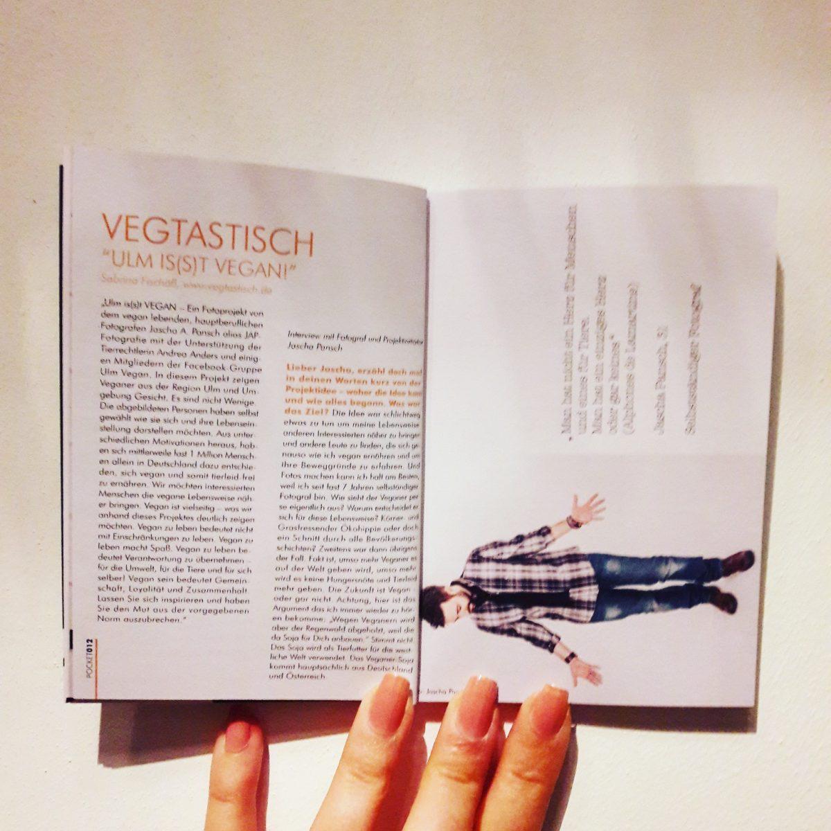 """Kolumne im POCKET Magazin September: Interview mit Fotograf Jascha zu """"Ulm is(s)t vegan!"""""""