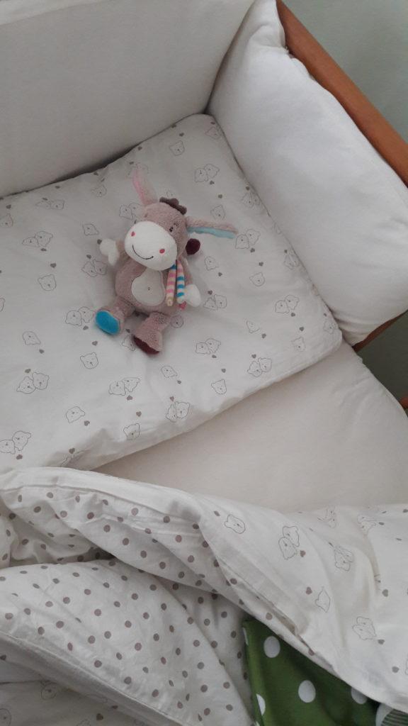 """Der kleine Esel """"Monkey Donkey"""" hat es sich schon gemütlich gemacht im neuen Bettchen."""