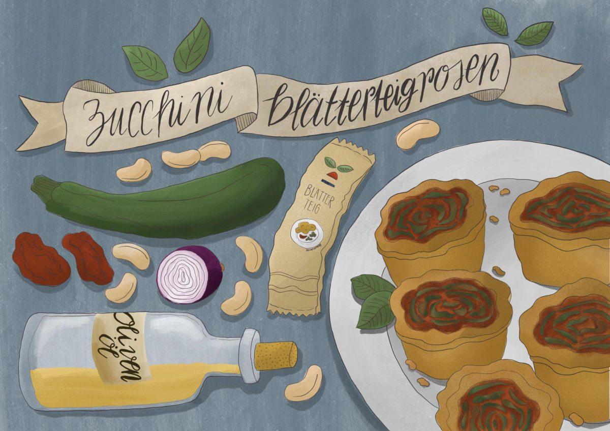 """Gastartikel von """"Obergine"""": Rezept für Zucchini-Blätterteigrosen mit Tomatenpesto"""