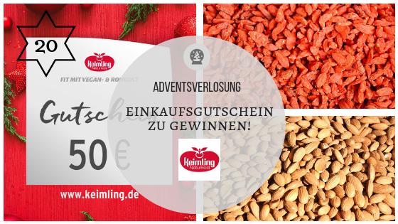 """20. Dezember 2018 – Adventskalender: 50 Euro Einkaufsgutschein von """"Keimling Naturkost"""" zu gewinnen!"""